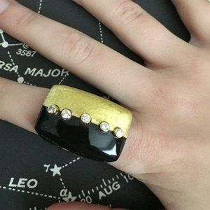 SALE Anthro Horn Painted Stone Art Deco Ring